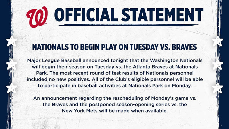 Nationals Start Season Tuesday, Doubleheader Wednesday