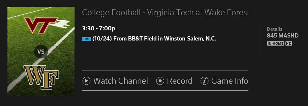 MASN Will Be Showing Wake-VT at 3:30 Saturday